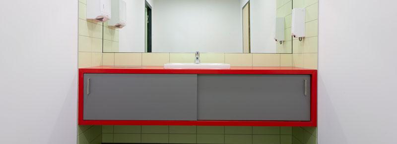 Sparkasse Leipzig, Geschäftsstelle Ratzelbogen, WC-Einrichtung